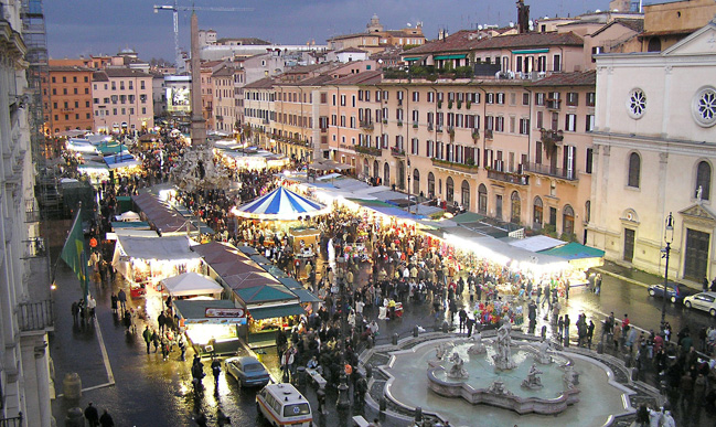 Christmas in Rome streets and its markets